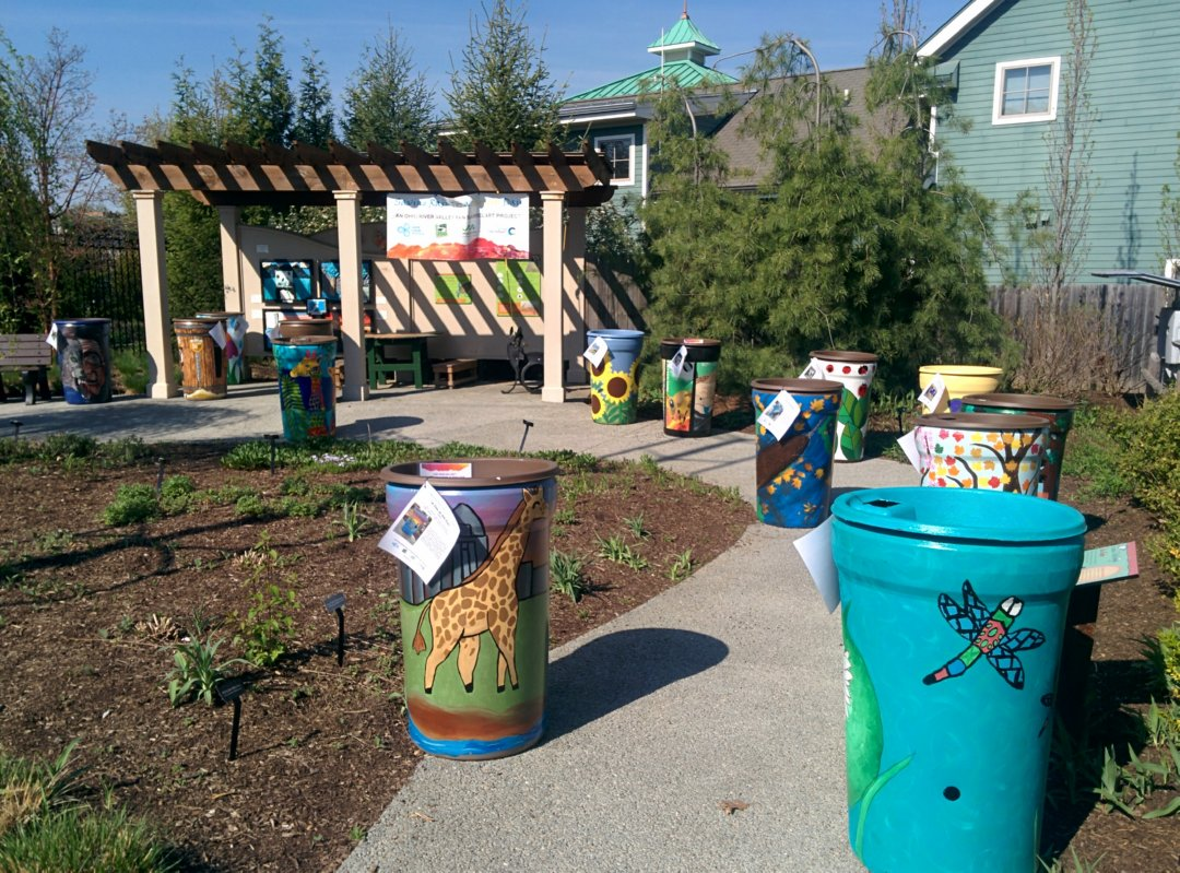Check out some of the beautifully painted rain barrels that will be up for auction.