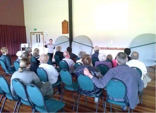 Andrea Goodman, Kea Conservation Trust, giving a community talk on kea in Murchison (Photo: Tracey Gross)