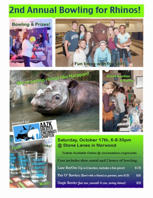 Bowling for Rhinos 2015 flyer