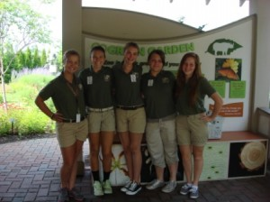 Nicole, Mattina, Olivia, Hannah and Melissa in the Go Green Garden.
