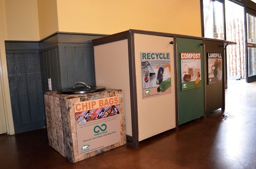 Clearly marked waste disposal containers in Base Camp Cafe.