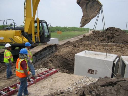Wildlife crossing being installed on FM106 (Photo: U.S. Fish and Wildlife Service)