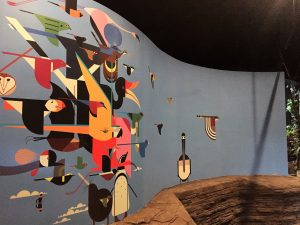 Charley Harper-inspired entry wall