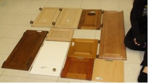 The cabinet doors, soon to be covered in trash
