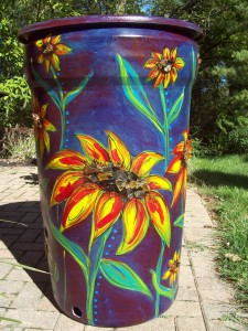 Painted Rain Barrel by Sandra Federman