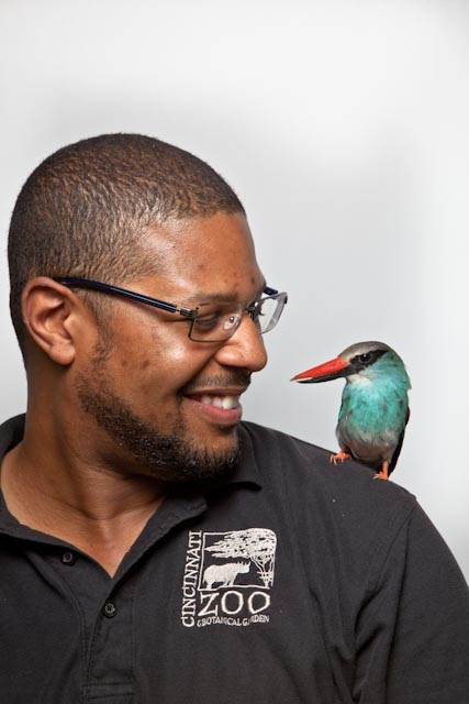 Rickey Kinley with one of his many feathered friends