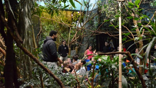 Rickey shares his knowledge as a bird keeper with participants in the Zoo's Spring Break Camp.