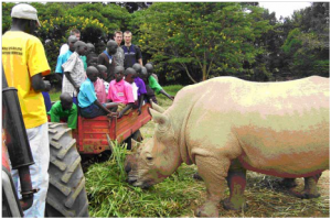Staff at UWEC educate villagers about the importance of rhinos
