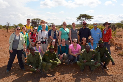 Earth Expeditions students with Amboseli game scouts in Kenya
