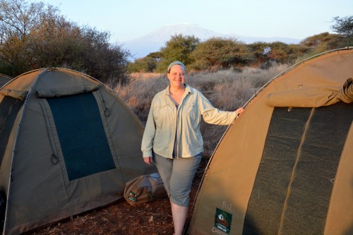 Standing by my tent in front of Mt. Kilimanjaro