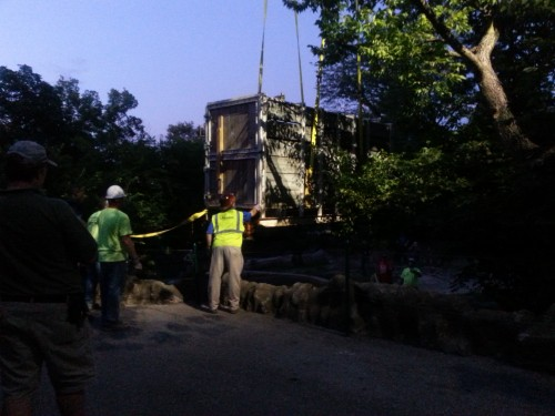 He made it to Cincinnati! A giant crane carefully lowering the crate into his new yard.