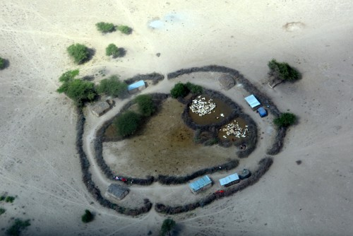 Maasai boma as seen from the plane (Photo: Shasta Bray)