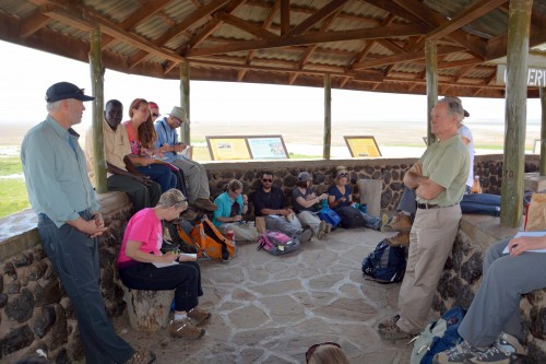 Dr. David Western talks with our group atop Observation Hill (Photo: Shasta Bray)