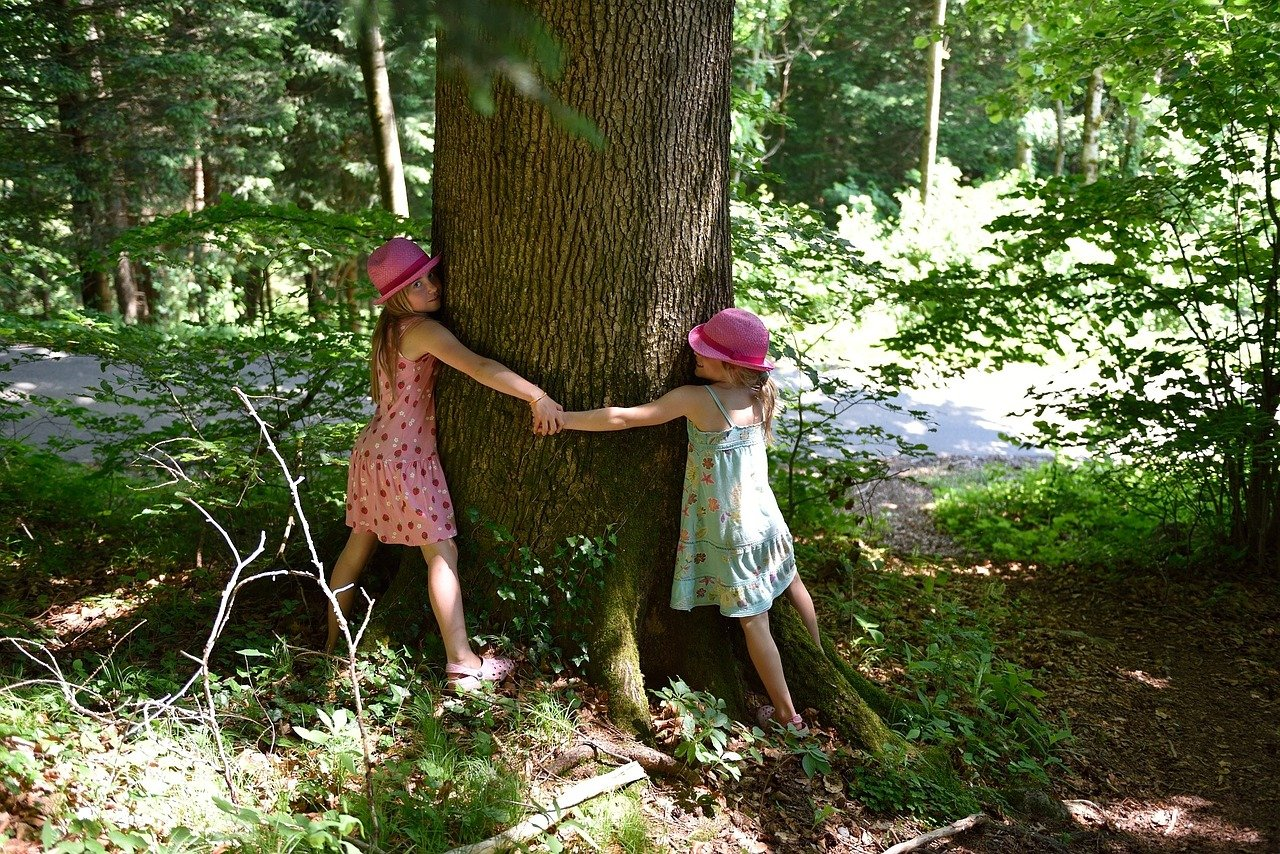 girls hug tree