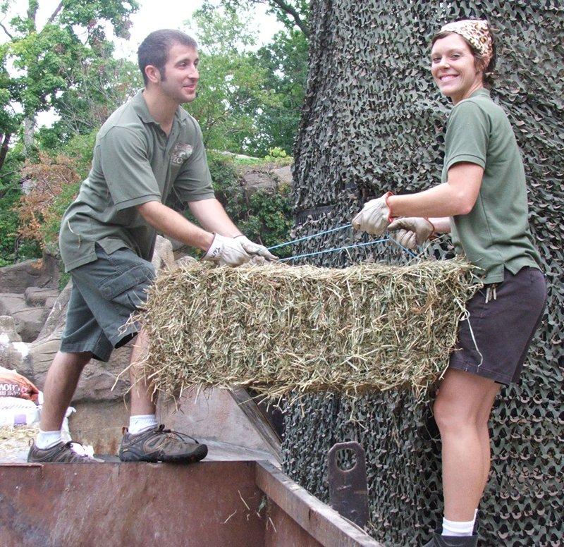 Michael delivers hay to Veldt keeper, Renee Carpenter