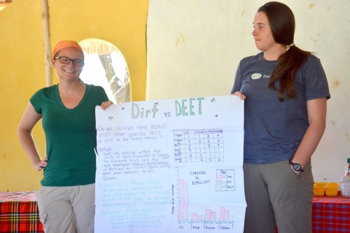 Jill and Kirstie report on their dirt vs DEET investigation. (Photo: Shasta Bray)