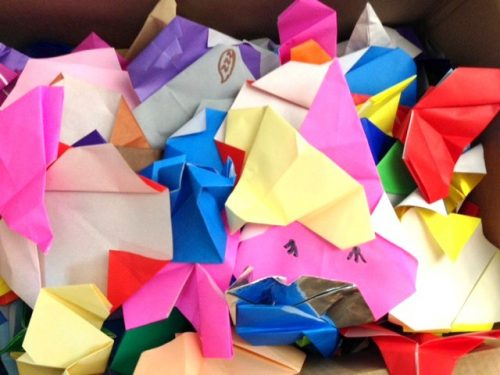 Origami elephants folded and collected at the Zoo (Photo: Shasta Bray)