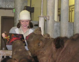 Here I am helping our past Sumatran rhinos, Emi and Suci, paint their own Rhino Rembrandts