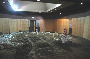 The rubble left in the rotunda after the concrete planter was busted out.