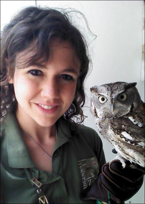 Sarah with Sassafras, the screech owl