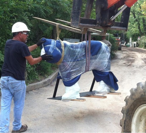 Transporting the sculpture into the Cat Canyon area