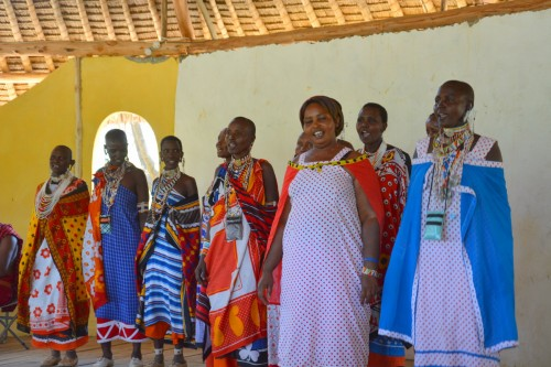 Maasai women from the Olkirimatian Women's Group welcome us with song (Photo: Shasta Bray)