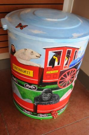 A rain barrel painted by Lauren, a Cincinnati Zoo employee, for the 2013 Rain Barrel Benefit Auction.