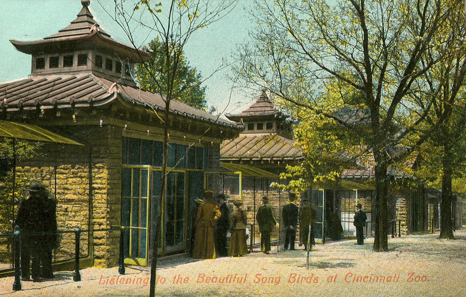 Postcard showign the original bird aviaries